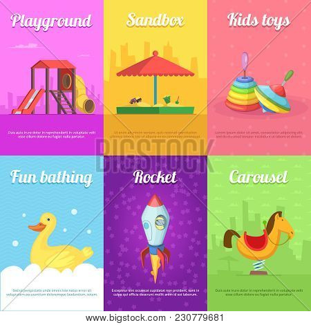 Cards For Kids With Illustrations Of Funny Toys. Playground And Sandbox, Bathing And Rocket Card Vec