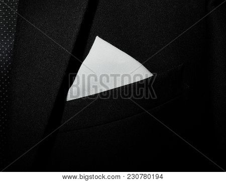White Handkerchief In The Pocket Of A Classical Black Suit Wedding Male Stylish Outfit