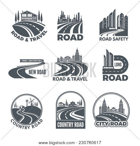 Logos With Curved Pathways And Place For Your Text. Road Asphalt Curve, Highway And Pathway For Tran