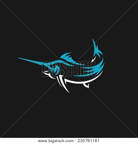 Marlin Fish Vector Logo. Fishing Illustration, Emblem Design On Black Background
