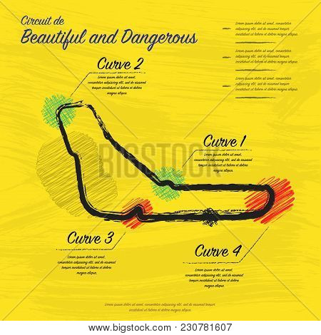 Grunge Yellow Background With Hand Draw Race Circuit And Sample Text