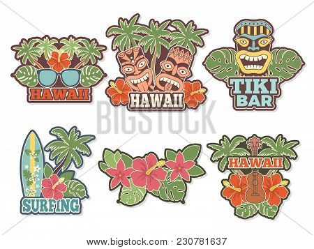 Different Colored Stickers And Badges Set With Symbols Of Hawaiian Culture. Vector Surfboard And Wil