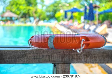 Ring Buoy Swimming Pool .  Background Holiday. Water Equipment