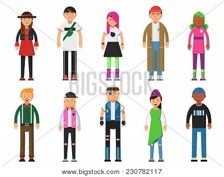 Fashioned Hipsters. Alternative Funny Characters. Peoples Isolate On White Background. Character Hip