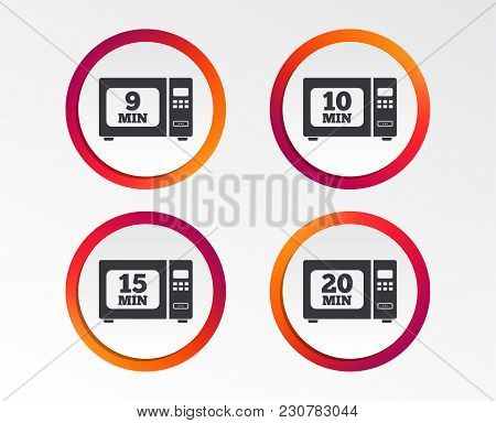 Microwave Oven Icons. Cook In Electric Stove Symbols. Heat 9, 10, 15 And 20 Minutes Signs. Infograph