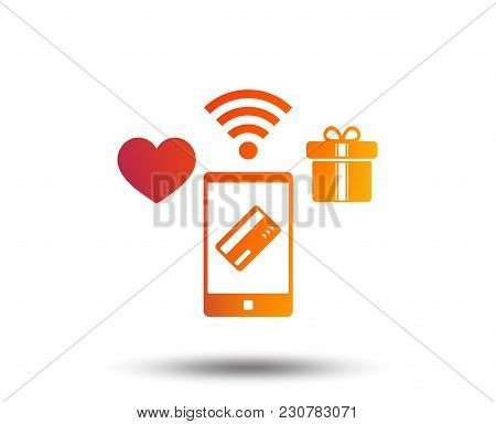 Wireless Mobile Payments Icon. Smartphone, Credit Card And Gift Symbol. Blurred Gradient Design Elem