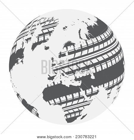 Black Silhouette Of World Map With Gray Tire Tracks Silhouettes Isolated On White Background