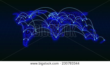 Abstract World Map From Digital Binary Code On A Grid Background, Global Internet Transactions Betwe