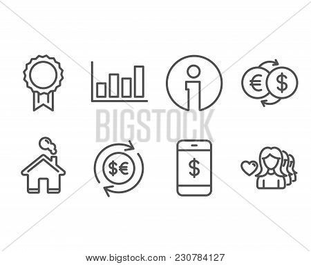 Set Of Report Diagram, Smartphone Payment And Reward Icons. Money Currency, Money Exchange And Woman