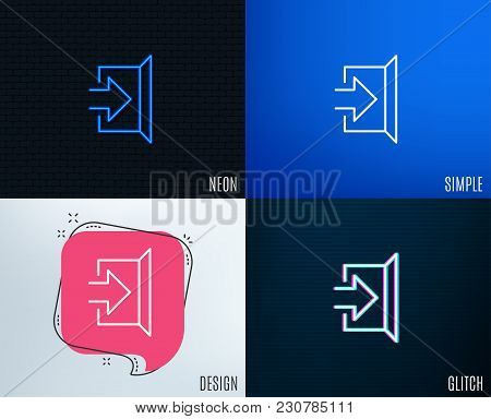 Glitch, Neon Effect. Exit Line Icon. Open Door Sign. Entrance Symbol With Arrow. Trendy Flat Geometr