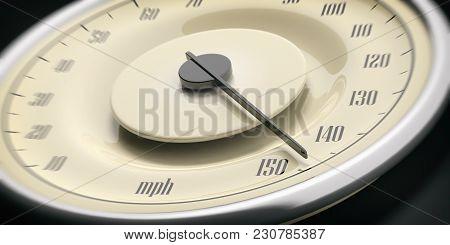 Vintage Car Gauge Speedometer Closeup Detail, Black Background. 3D Illustration