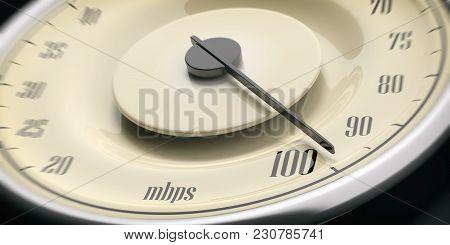 High Internet Speed. Vintage Car Gauge Speedometer Closeup Detail, Black Background. 3D Illustration