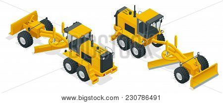 Isometric Graders Used In The Construction And Maintenance Of Dirt Roads And Gravel Roads. Construct