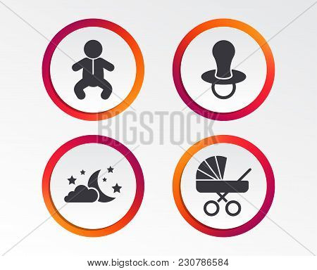 Moon And Stars Symbol. Baby Infants Icon. Buggy And Dummy Signs. Child Pacifier And Pram Stroller. I