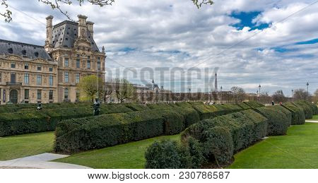 Paris, France - March 28, 2017: The Louvre Museum in Paris on a beautiful summer day