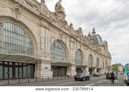 Paris, France, March 28 2017: D'Orsay Museum on left bank of Seine. D'Orsay housed in the former Gare D'Orsay. D'Orsay holds mainly French art dating from 1848 to 1915
