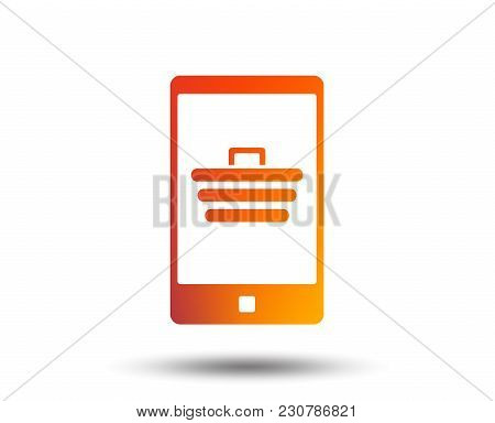 Smartphone With Shopping Cart Sign Icon. Online Buying Symbol. Blurred Gradient Design Element. Vivi