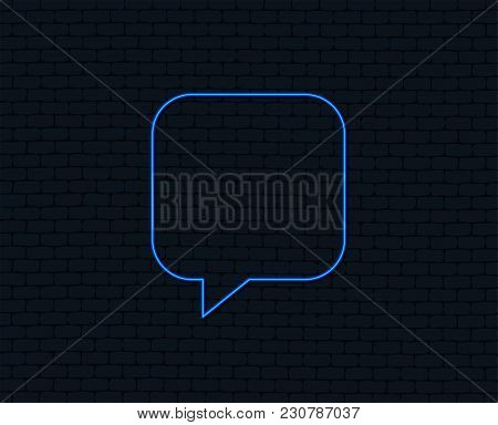 Neon Light. Chat Sign Icon. Speech Bubble Symbol. Communication Chat Bubbles. Glowing Graphic Design