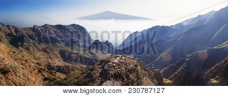 Masca Valley.canary Island.tenerife.scenic Mountain Landscape.teide Volcano And Sunset Valley Panora