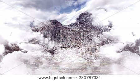Rock Mountain Fog And Clouds.extreme Adventures And Sport Climbing And Trekking.nature Landscape
