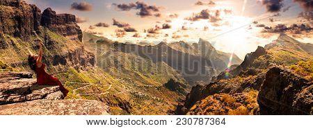 Masca Valley.canary Island.tenerife.scenic Mountain Landscape.cactus,vegetation And Sunset Panorama