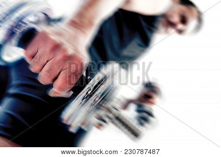 Gym Equipment And Sport Concept.strong And Motion Background.dumbbells.