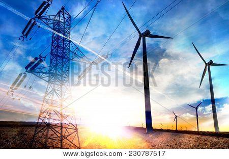 Abstract Double Exposure Renewable Energies. Wind Farm. Wind Turbines