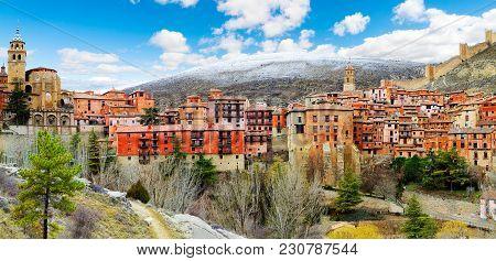 Scenery Spain Village. Albarracin.scenic Village Landscape.travel And Destinations Concept.