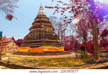 Thailand Travels Adventures.scenic Wat Garden Landscape.landmark Ancient Culture And Religion.
