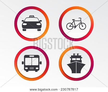Transport Icons. Taxi Car, Bicycle, Public Bus And Ship Signs. Shipping Delivery Symbol. Family Vehi