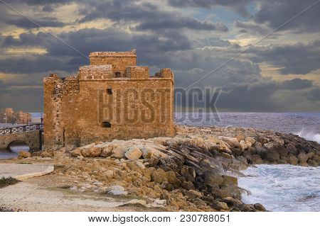 Medieval Paphos Castle ( Fort ) In The Harbor At Cloudy Sunset. Location Of September Festival. Cypr