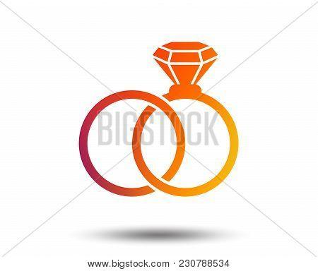 Wedding Rings Sign Icon. Engagement Symbol. Blurred Gradient Design Element. Vivid Graphic Flat Icon