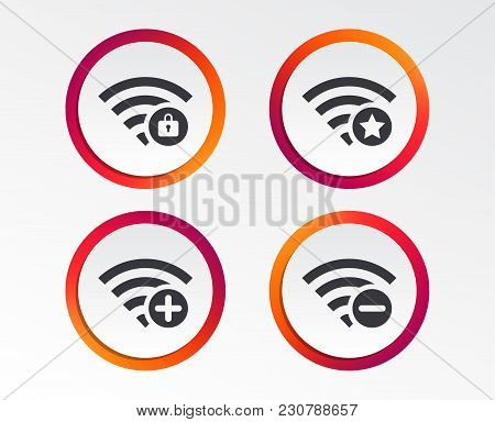 Wifi Wireless Network Icons. Wi-fi Zone Add Or Remove Symbols. Favorite Star Sign. Password Protecte