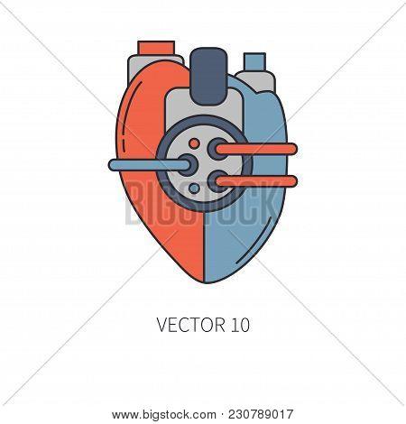 Bionic Heart Prosthesis Color Line Icon. Bionic Prosthesis. Biotechnology Futuristic Medicine. Futur