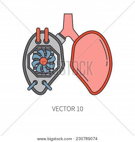 Bionic Lungs Prosthesis Color Line Icon. Bionic Prosthesis. Biotechnology Futuristic Medicine. Futur