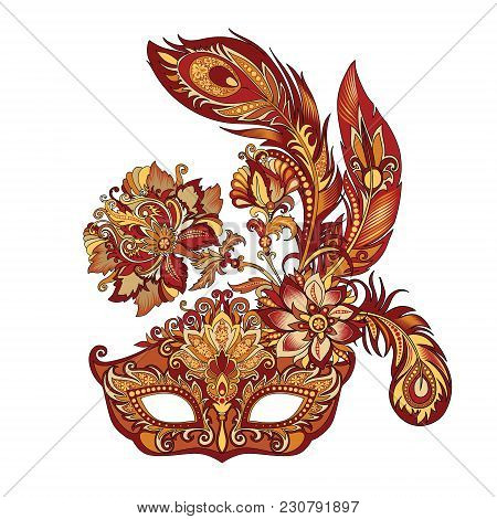 Vector Illustration Of Carnival Golden Mask For Theater And Festivals, Colorful Bright Venetian Mask