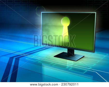 Computer monitor with a keyhole. 3D illustration.