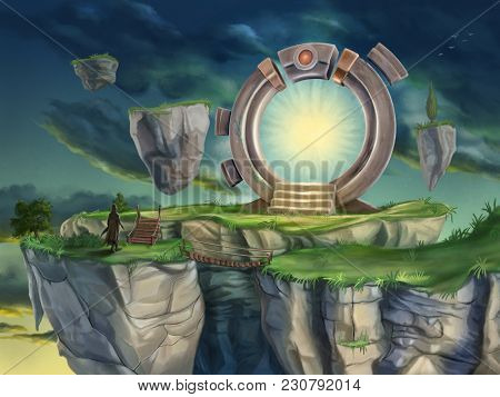 Magic portal in a surreal landscape. Digital illustration.