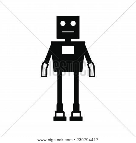 Robot Icon. Silhouette Illustration Of Military Robot Vector Icon For Web And Advertising
