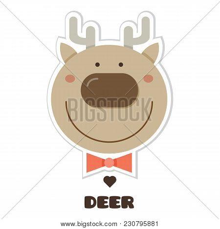 Deer. Vector Illustration Of Head Of Deer. Sticker