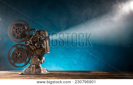 Old style movie projector, still-life, close-up.