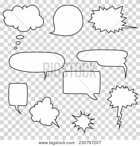 Speech Bubble Set On Transparent Background, Vector