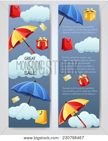 Set Of 2 Vector Brouchure. Flyer, Sale Banner For Monsoon Season With Shopping Bags, Gift And Umbrel