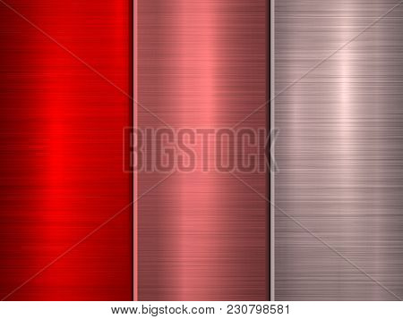 Red, Bronze And Pink Metal Technology Background With Polished, Brushed Circular Concentric Texture,