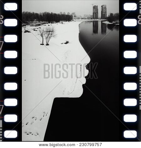 Landscape: River, Buildings, Shore In The Form Of A Profile Of A Person. Snowy Beach, Twin Towers, F