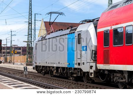 Fuerth / Germany - March 11, 2018: Re Regional Express Train From Deutsche Bahn Passes Train Station