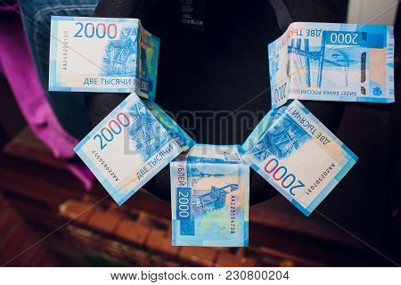5 Bills Of New 2000 Rubles Cash Lie In The Hat