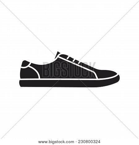 Sneaker Icon. Silhouette Illustration Of Retro Sneaker Vector Icon For Web And Advertising