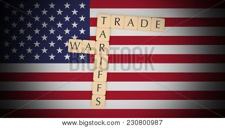Usa Politics News Concept: Letter Tiles Tariffs And Trade War On Us Flag, 3d Illustration