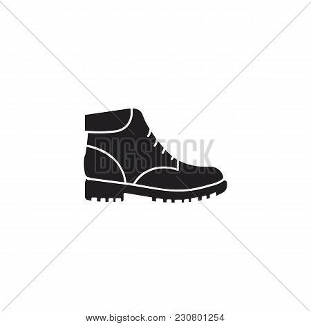 Hiking Modern Military Boot Isolated On White Background, Combat American Military Boot. Shoe Object